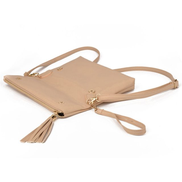 Flat Crossbody Bag with Tassel