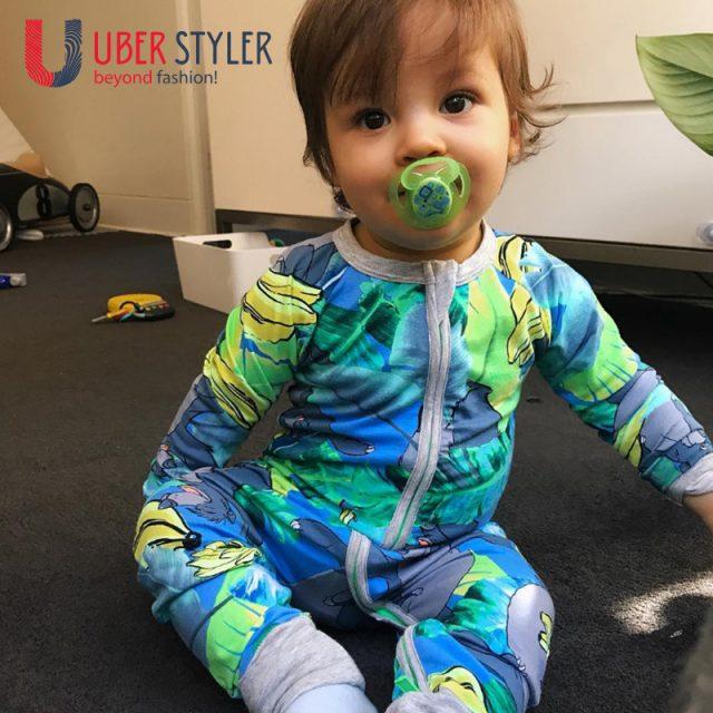 Baby's printed banana jumpsuit