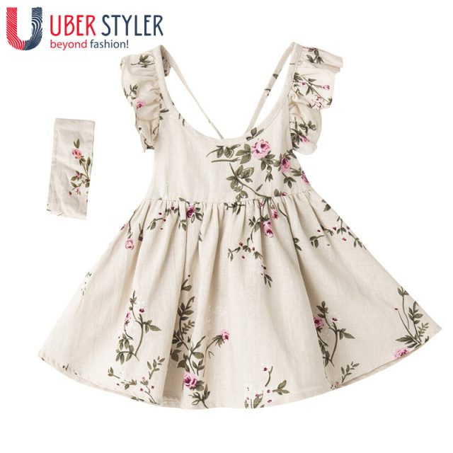 Girls floral linen dress + Hair band