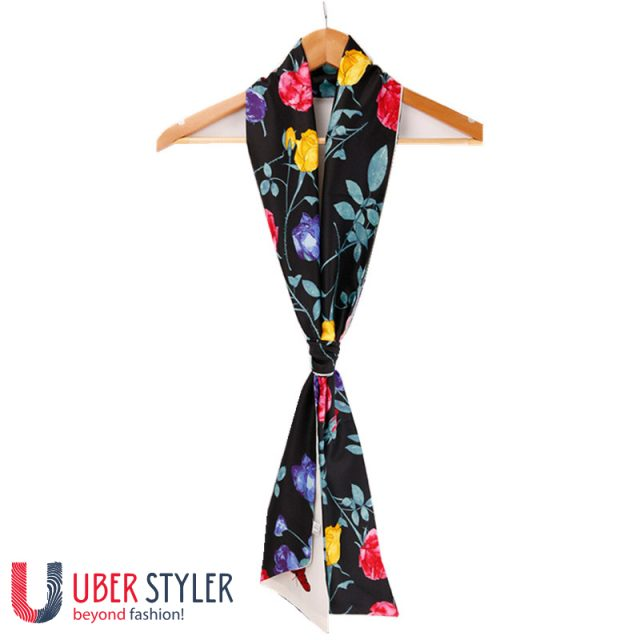 Women Silk Scarf Feather Print