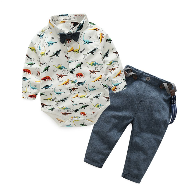 Baby Boys' Dinosaur Print Gentleman Clothing