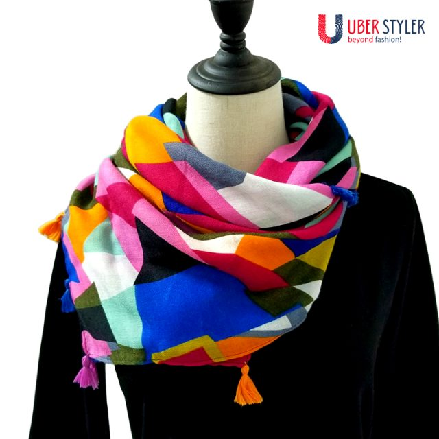 Geometric Cotton Scarf