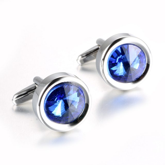 Men's Blue Crystal Cuff Links
