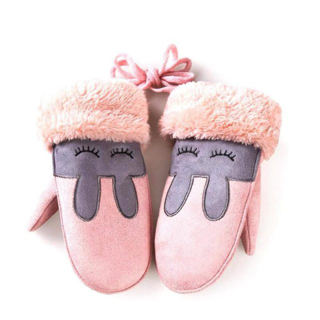 Warm Girl's Gloves with Cute Bunny Embroidery