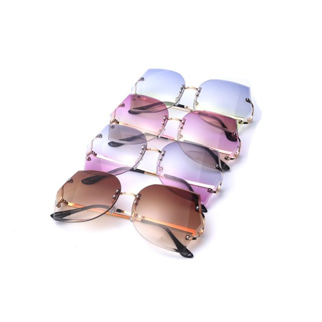 Women's Oversize Rimless Gradient Sunglasses
