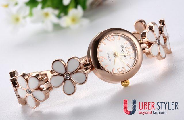 Women's Elegant Enamel Bracelet Watch