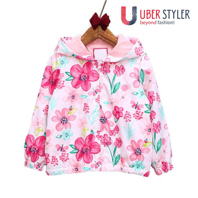 Girl's floral fox hooded jacket