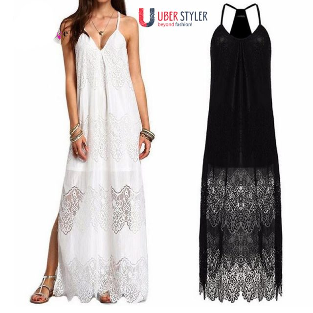 Bikini Cover Up Dress Solid Lace