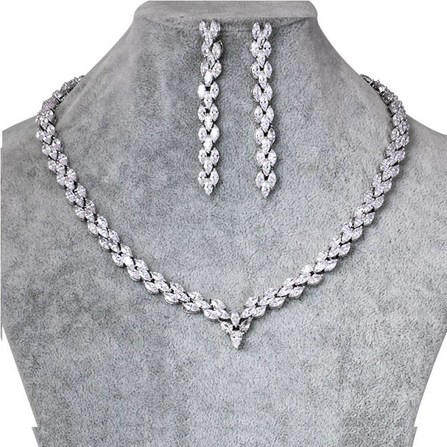 Cubic Zirconia Marquise Necklace Set