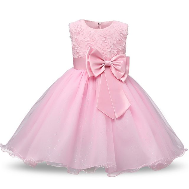 Girl's Chiffon Princess O-Neck Dress with Bow